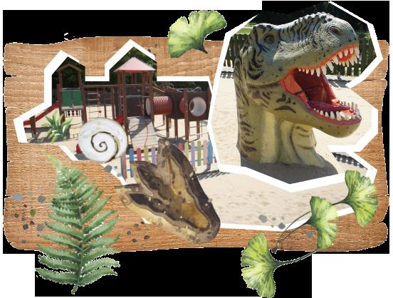 piaskownica z dinozaurem